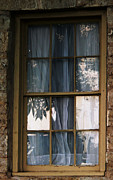 Window Reflection Posters - Closed Curtains Poster by Angela Wright