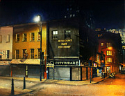 City Night Scene Paintings - Closed Stores by Nicolas Martin