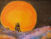 Good Luck Posters - Closer View Kokopelli on a Marmalade Moon Night Poster by Anne-Elizabeth Whiteway