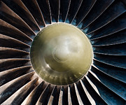 Closeup Of A Jet Turbine Engine Print by Oliver Sved