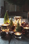 Sandra Cunningham - Closeup of candles and decorations for the holidays