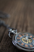 Old Hands Photos - Closeup of pocket watch with copy space above by Edward Fielding