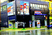 Rainy Street Painting Framed Prints - Closing Time Montreal Factory Glatts Produits Quebec Meats Graffiti Art City Scenes Carole Spandau Framed Print by Carole Spandau