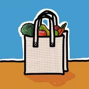 Shopping Bags Prints - Cloth Shopping Bag With Vegetables Print by Yuriko Zakimi