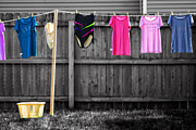 Shirt Digital Art - Clothes Line Selective Coloring Digital Art by Thomas Woolworth