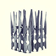 Blue And White Posters - Clothespin Poster by Priska Wettstein