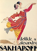 Dancing Drawings Posters - Clotilde and Alexandre Sakharoff Poster by George Barbier