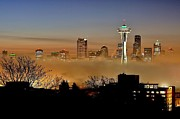 Space Needle Framed Prints - Cloud City Seattle Framed Print by Benjamin Yeager