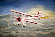 Biplane Paintings - Cloud Dancing Biplane by David Lambertino