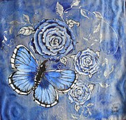 Butterfly Tapestries - Textiles Metal Prints - Cloud Garden Metal Print by Nora Padar