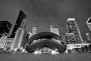 Black And White Photo Framed Prints - Cloud Gate and Skyline Framed Print by Adam Romanowicz