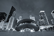 Cloud Gate And Skyline - Blue Toned Print by Adam Romanowicz