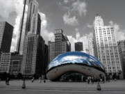 Chicago Black And White Posters - Cloud Gate B-W Chicago Poster by David Bearden