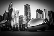 Black And White Photo Framed Prints - Cloud Gate Bean Chicago Skyline in Black and White Framed Print by Paul Velgos