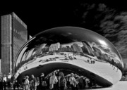 Chicago Skyline Bw Metal Prints - Cloud Gate Chicago - The Bean Metal Print by Christine Till