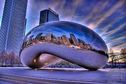 Chicago Posters - Cloud Gate Poster by Jeff Lewis