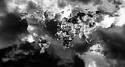 Monochrome Art - Cloud World Map by Hakon Soreide