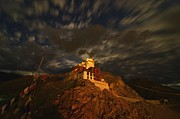 Monastery Photos - Clouds and Stars Over Tsemo by Aaron S Bedell