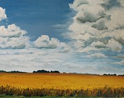 Field. Cloud Paintings - Clouds and Wheat Field by Leigh Ann Inskeep-Simpson