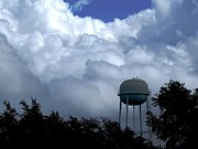 Art In Acrylic Framed Prints - Clouds around the Water tower Framed Print by Zulfiya Stromberg