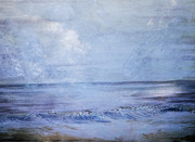 Hall Mixed Media Prints - Clouds at the Beach Print by Judy Hall-Folde