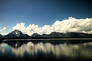Distant Mountains Posters - Clouds In The Grand Tetons Poster by Jeff  Swan