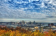 City Skylines Framed Prints - Clouds Over Cincinnati Framed Print by Mel Steinhauer