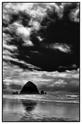 Sandy Beaches Photo Posters - Clouds over Haystack Rock on Cannon Beach Poster by David Patterson