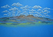 Mountain Scene Drawings Prints - Clouds Over Lassen Print by Michele Myers
