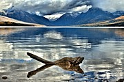 Lake Mcdonald Framed Prints - Clouds Over McDonald Framed Print by Adam Jewell