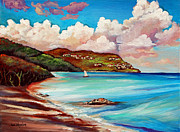 Bay Islands Painting Framed Prints - Clouds Over Paradise Framed Print by Eve  Wheeler