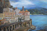 Amalfi Paintings - Clouds Over The Amalfi Coast by Emily Olson