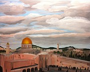 Jerusalem Painting Metal Prints - Clouds Over the Old City Metal Print by Adrienne Miller