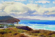 Highway Painting Posters - Clouds over Torrey Pines Poster by Mary Helmreich
