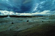 Geysers Photos - Clouds Over Yellowstone Hot Springs by Jeff  Swan