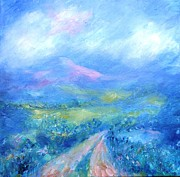 Blues And Greens Prints - Clouds Sunshine and Shadows in Wicklow   Print by Trudi Doyle