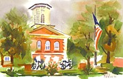 Greens Paintings - Cloudy Day at the Courthouse by Kip DeVore
