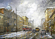 Crosswalk Painting Framed Prints - Cloudy day Framed Print by Dmitry Spiros