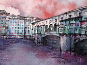 Florence Drawings Prints - cloudy day in Florence-3 Print by Khromykh Natalia