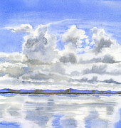 Realistic Watercolor Prints - Cloudy Sky with Reflections Print by Sharon Freeman