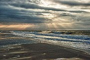 Pier Digital Art Originals - Cloudy Sunrise by Michael Thomas
