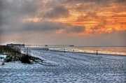 Beach Fence Digital Art Posters - Cloudy Sunrise on Gulf Shores Beach Poster by Michael Thomas