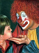 Jaxine Cummins Pastels Posters - Clown and Child Poster by JAXINE Cummins
