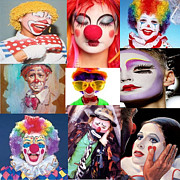 Michael Mixed Media Posters - Clown collage Poster by Michael Knight