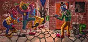 Night Angel Paintings - Clown Crossroads by Mike Fahl