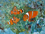 Fish Cart Framed Prints - Clown Fish Art original tropical painting Framed Print by Ella Kaye