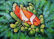 Reef Fish Pastels Posters - Clown in the Anemone Poster by Linda Simon
