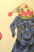 Black Lab Mixed Media - Clown Lab by Christina Hoffman