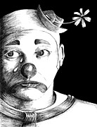 Face Prints Drawings - Clown of Tears by Carl Genovese