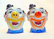 Pepper Greeting Card Prints - Clown Salt and Pepper Shakers Print by Jim Whalen